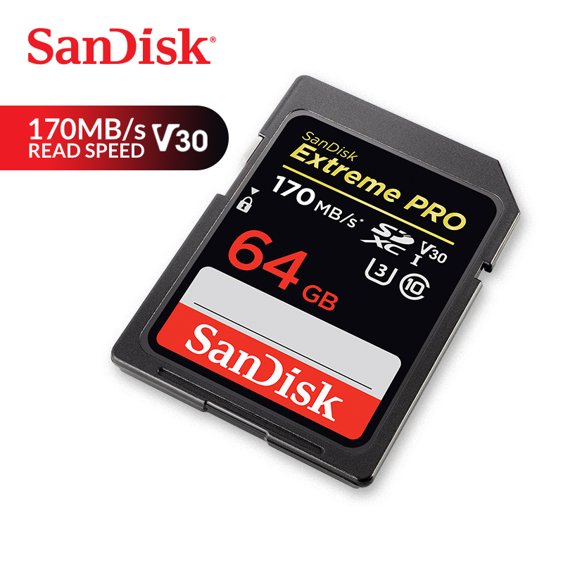 SanDisk Memory Card Extreme Pro SDXC SD Card 170MB/s Read 90MB/s Write 64GB C10 U3 V30 UHS-I 4K For Camera (SDSDXXY-064G-ZN4IN)