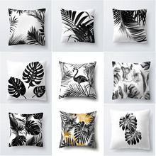 2019 New Nordic Decoration Home Tropical Cushion Cover Pillow Black White Plant Leaves Decor for Throw