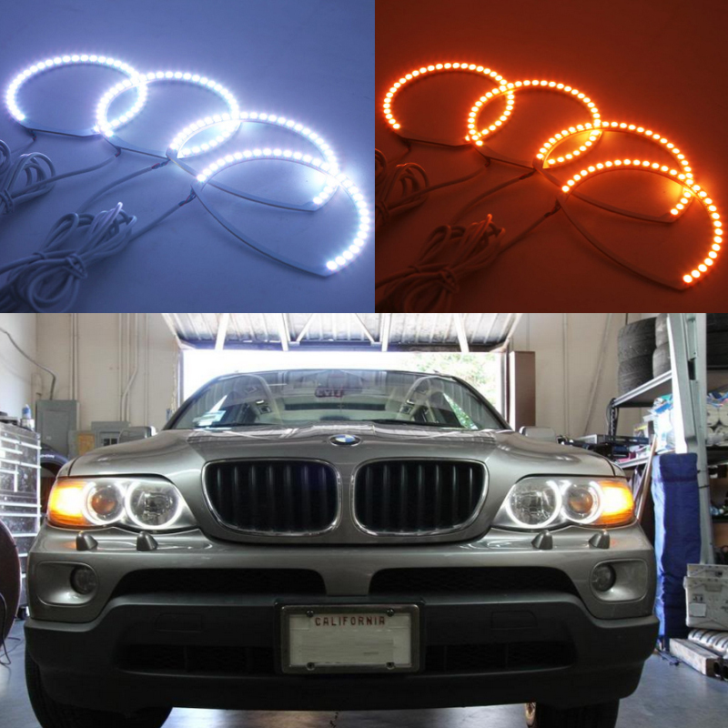 Super bright 7 color RGB LED Angel Eyes Kit with a remote control For BMW E53