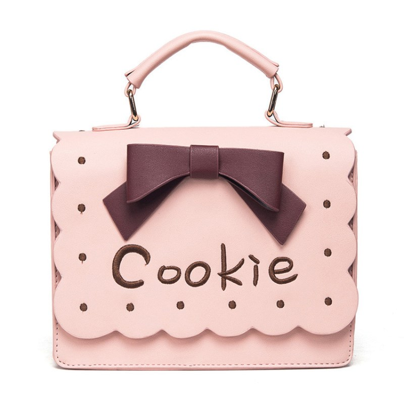 J-BG pink Women Biscuit Shaped Shoulder Bag Cookie Embroidery Bowknot Handbag PU Crossbody Messenger Bag sac a main femme geometric shapes biscuit cookie cutter mold set silver 12 pieces pack