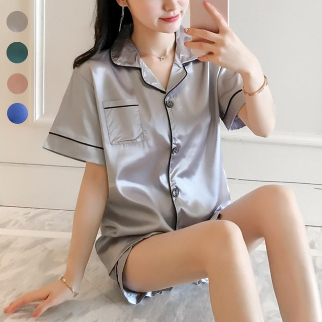 Women Girl Lady Short Sleeve Button Nightgown Set Pajamas Sleepwear Summer  Breathable for Home Pyjamas Women bb751ea63