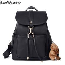 Высокое качество PU кожа женщин рюкзак дизайнер милая леди медведь colleage школьные сумки мода черный шнурок путешествия рюкзаки