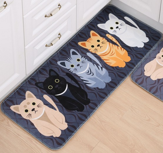 Adasmile New Lovely Cat Cartoon Memory Foam Mat Carpet Area Rugs Doormats For Kids Room Living Room Kitchen Bathroom Floor