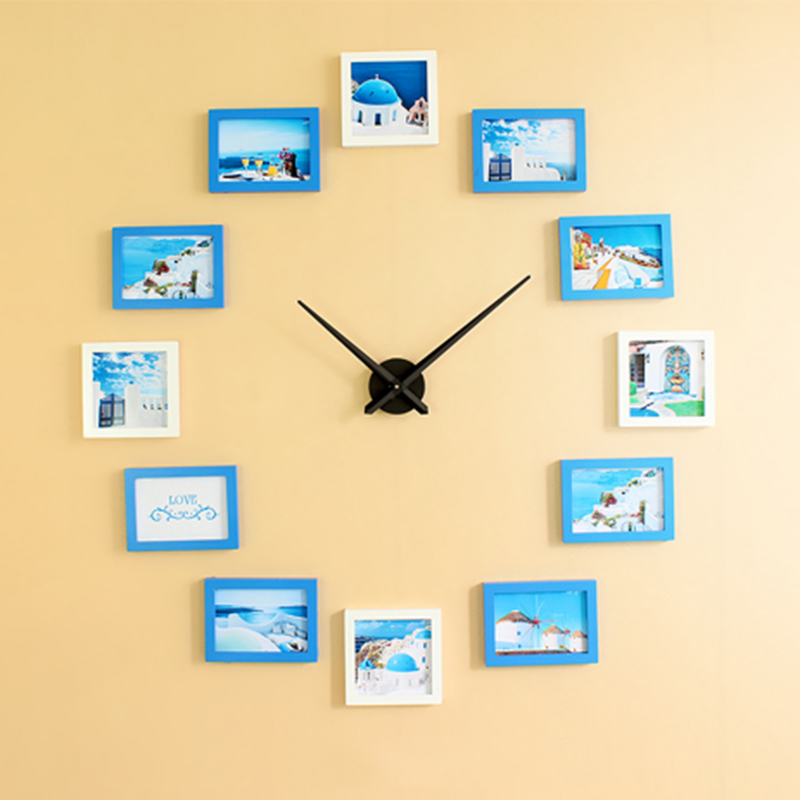Hot Sale Creative Big DIY Wall Clock With Wooden Pictures Photo Frame Modern Design Unique Gift3 Colors