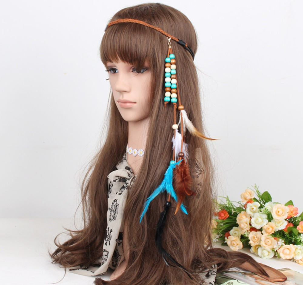 Bohemian Handmade Ethnic Tribal Gypsy Braid Headdress Headband Rope Wood Bead Feather Hairband Hair Clip Women Jewelry Accessory