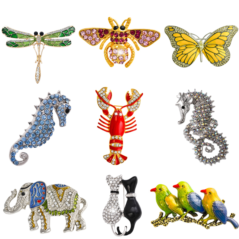 Retro Insect Dragonfly Butterfly Broach Bee Brooch Kvinner Crystal Animal Elephant Cat Birds Sea Horse Broches Mujer Menn Brosche