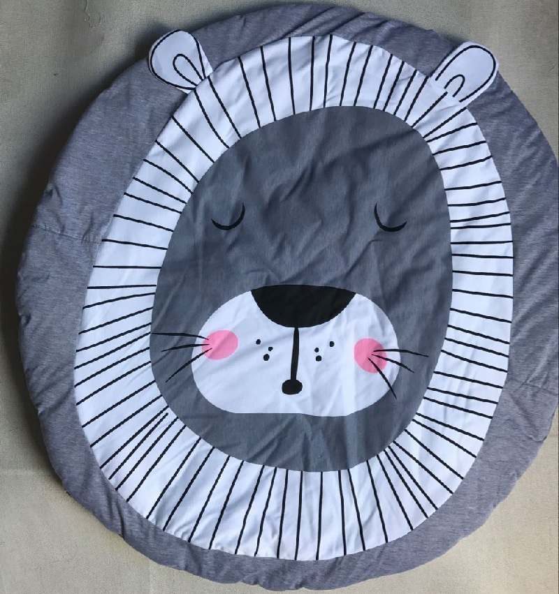 Cute-Cartoon-Animals-Lion-Face-Quilted-Play-Mats-Baby-Blanket-Carpet-Rug-Nordic-Style-Kids-Bed-Room-Decor-Photo-Props-2