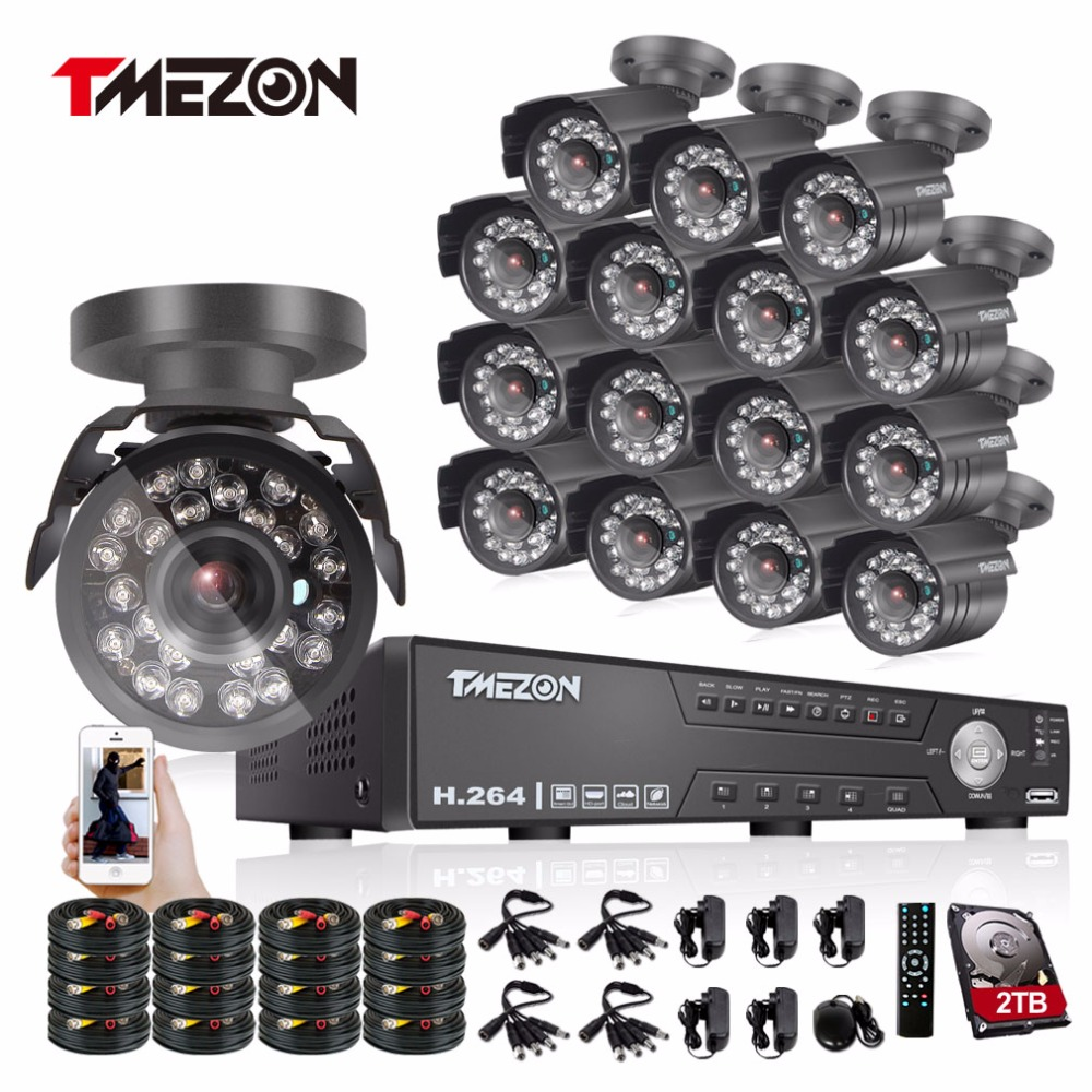 Tmezon 16CH AHD DVR 16Pcs 2.0MP 1080P Camera Security Surveillance CCTV System Outdoor Waterproof IR Night Vision 1TB 2TB HD Kit  16ch video camera recorder dvr with 16pcs outdoor waterproof ir day night vision surveillance camera 16ch security sytem dvr kit