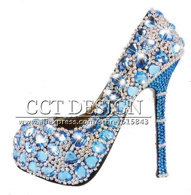 Women Shoes Blue Diamond Wedding Shoes Fashion Platforms Shoes Women  Rhinestones Color Customized Party Shoes Dress high heels 95e3c6205e06