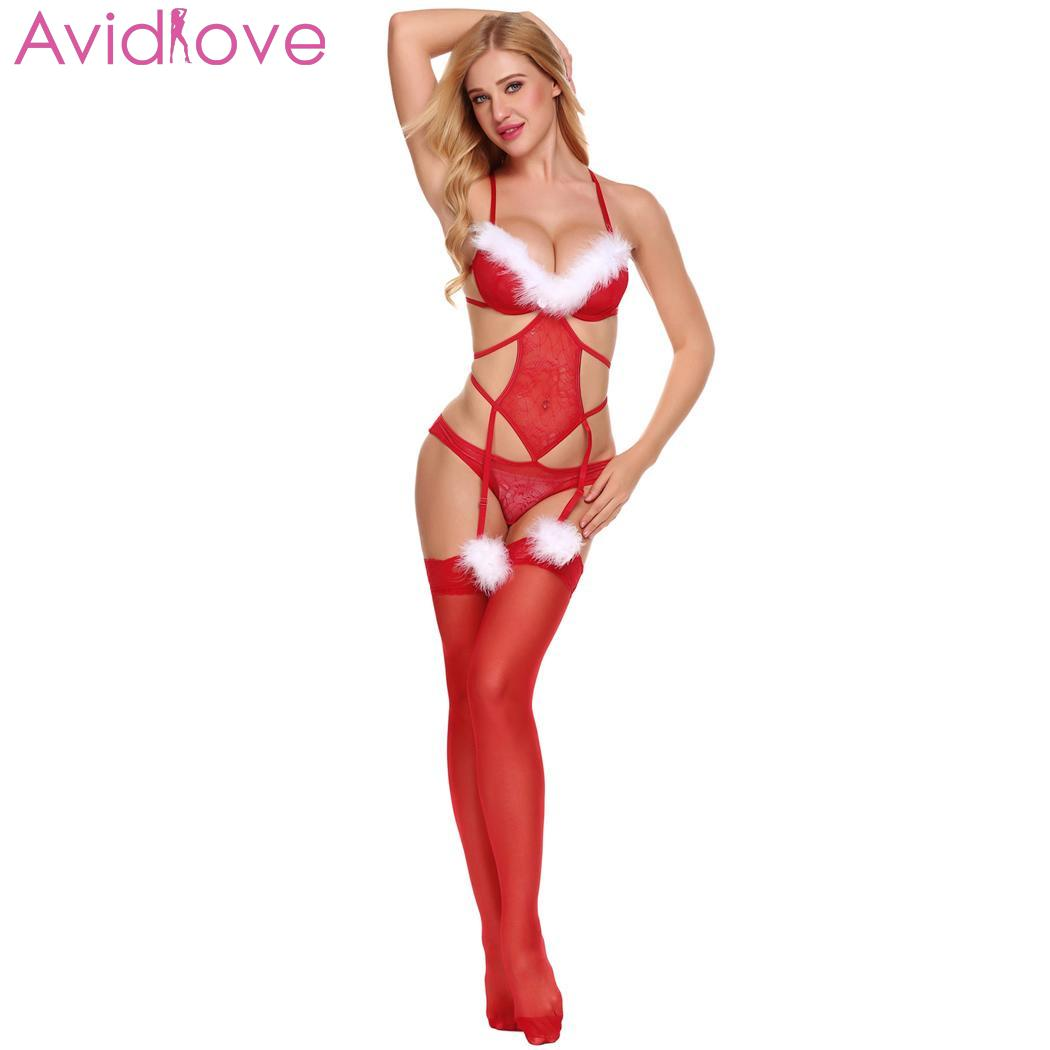 Avidlove Women Sexy Costumes Erotic Bra Teddy Christmas Sexy Lingerie Bodysuit Lace With Garter Belts Lenceria Femenina