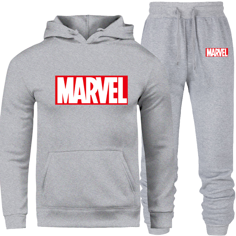 2019 New Men Tracksuit Set Winter Fleece Hood Print Marvel Jacket+Pants Sweatshirts Male 2 Piece Set Hoodies Sporting Suit Coat