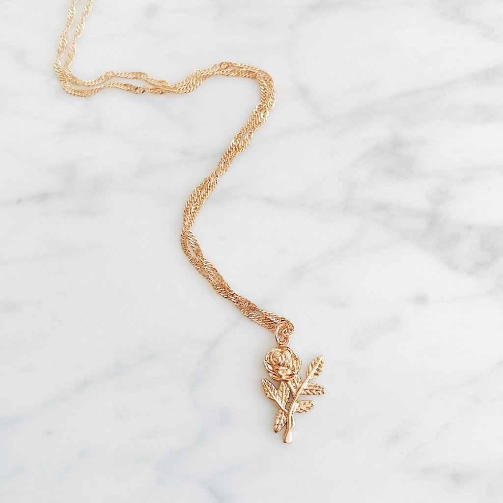 2018 Bijouxเด็กหญิงถ่านหินใหม่เงินสีทองดอกกุหลาบชี้แจงสร้อยคอผู้หญิงเสน่ห์Maxiเค้นคอBohoเครื่องประดับ