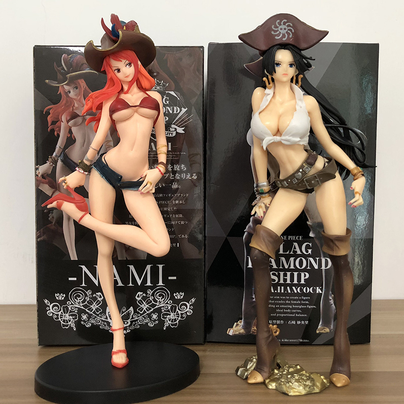 25cm One Piece Girls Figurine Pirate Boa Hancock & Nami Captain Ver. PVC Figure Collection Model Toy one piece portrait of pirates sex figurine bikini boa hancock ver bb sp pvc figure portrait of pirates limited edition boa
