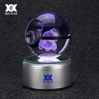 Fashion Pokemon Go Bulbasaur Charizard Engraving Round 3D Crystal Ball With LED Base Child Christmas Gift