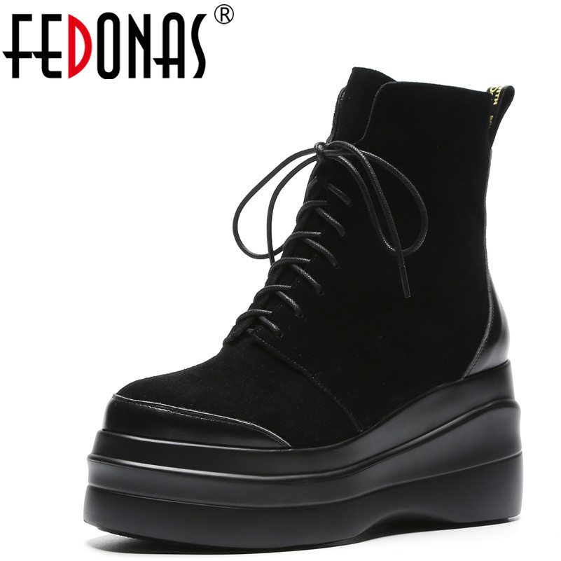 donna inverno caldo piattaforme scarpe punta rotonda nero stivaletti autunno scamosciata qualità moda mucca alti casual tacchi Fedonas pelle donna OvTq8w7