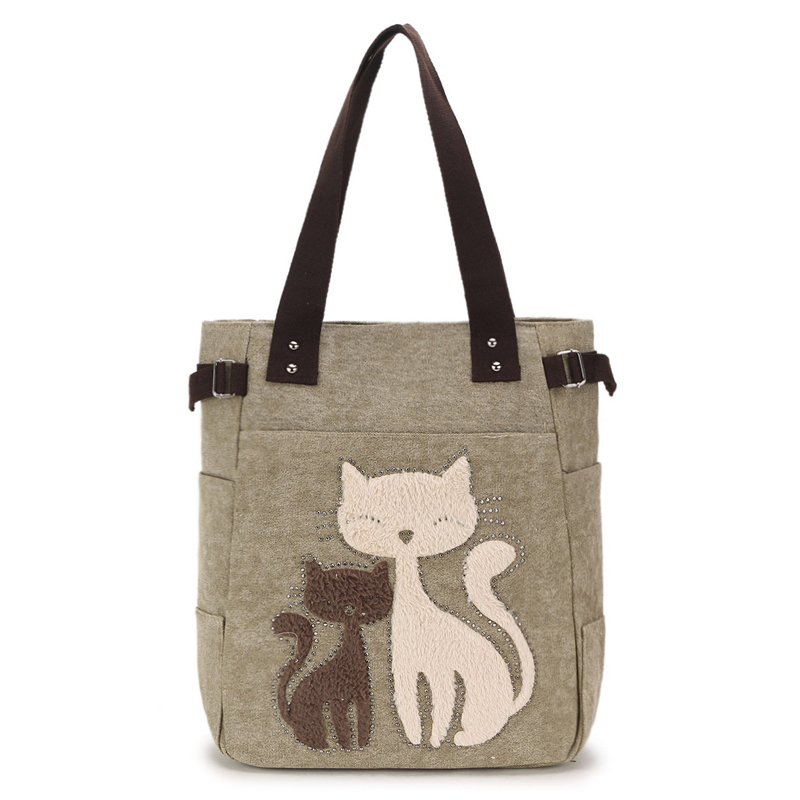 Us 11 68 Las Canvas Bag Women Shoulder Bags Female Cute Cat Handbag Casual Totes Lady College School Books Ping For S In