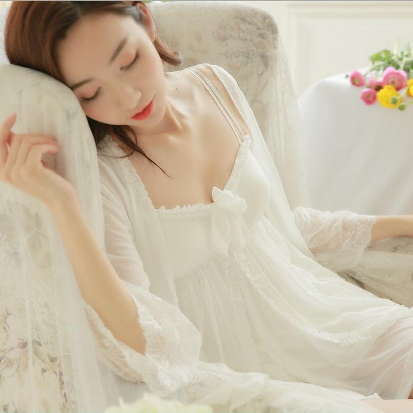 Sexy two pieces sleepwear summer perspective deep V lace princess two-piece sets temptation with chest pad night clothing wj670