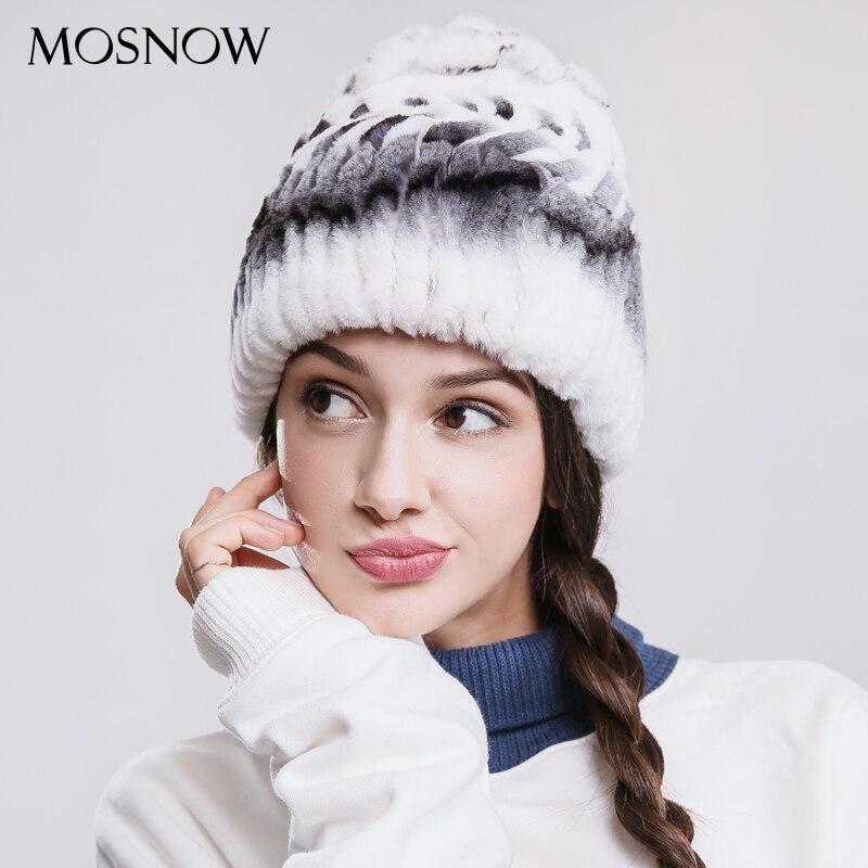MOSNOW Real  Rex Rabbit Fur Winter Hats For Women  Flower Top Arrow Warm 2018 Fashion New Hat Female Skullies Beanies  #PCM719