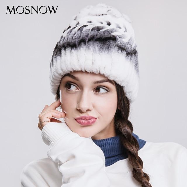 bdabbfe4612df MOSNOW Real Rex Rabbit Fur Winter Hats For Women Flower Top Arrow Warm 2018  Fashion New Hat Female Skullies Beanies  PCM719