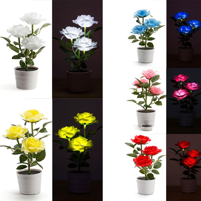 Solar Rose Flower LED Lights Artificial Rose Pot with 3 Lights Flower Bonsai LED Light Lamp for Home Garden Room Office Hotel artificial flower bunch with 9pcs rose