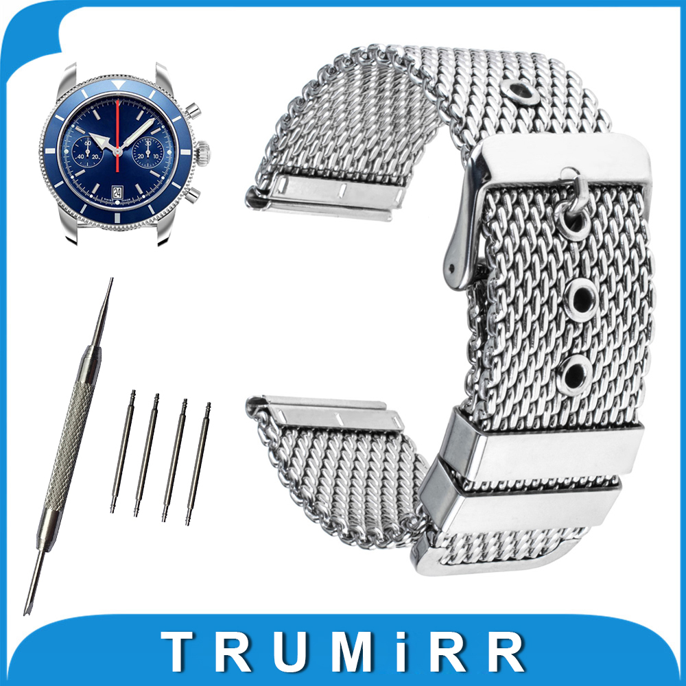 20mm 22mm 24mm Milanese Watch Band + Tool for Breitling Stainless Steel Watchband Strap Wrist Belt Bracelet Black Silver stainless steel cuticle removal shovel tool silver