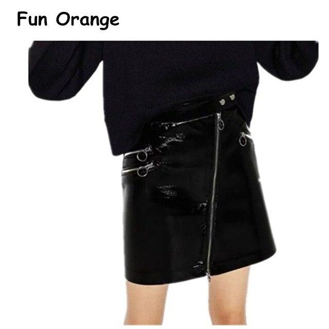 Spaß Orange Kunstleder Reißverschluss Punk Rock Rock Frauen Mode Streetwear  Schwarzen Kurzen Rock Herbst Party Club de542a8cab