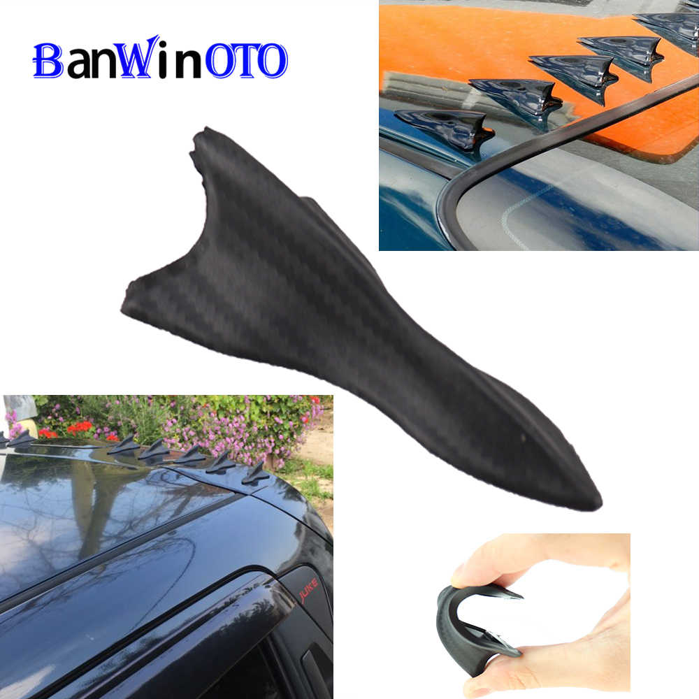 IYSHOUGONG 12 Pcs Mini Shark Fin Diffuser Vortex Generator Car Spoiler Roof Wing Pointed End Style Decoration Universal Car Truck SUV,Carbon