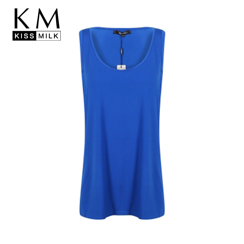 Kissmilk Women Plus Size Fashion Clothing Top Sleeveless Front Zipper Slit Tank Basic Soft Summer Casual Big Size Tee 3XL 6XL in T Shirts from Women 39 s Clothing