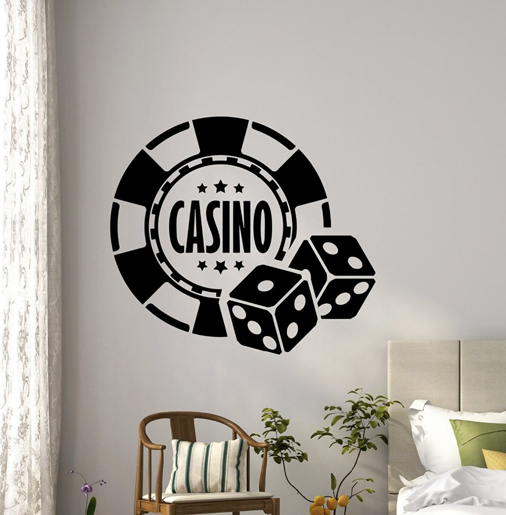 Free shipping Casino Wall Decal Dice Aces Poker Play Room Holdem Cards Game Art Teen Kids Room Wall Decor Removable Wall Sticker