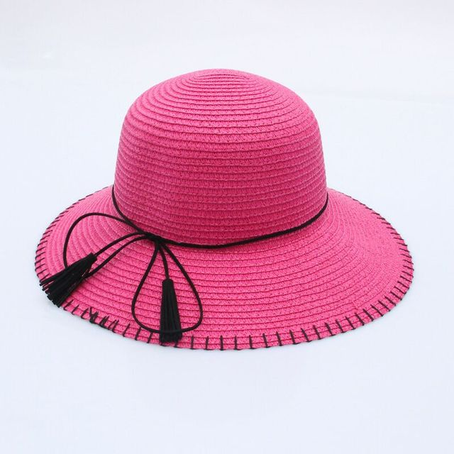 The 2018 day is small fresh men and women sunshade hat ass fringed bow sun  hat 0cb00f1e870a