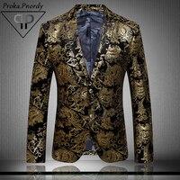 Proka pnordy Золотые Костюмы Блейзер Для мужчин Цветочный принт Повседневное тонкий Пиджаки для женщин моды званый ужин Однобортный мужской кос