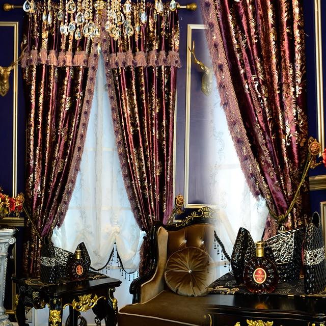 Custom Purple Gold European American High Quality Curtain Luxurious Velvet Bronzing Cloth Blackout E590