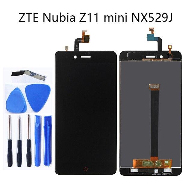 Zte ヌビア Z11 ミニ NX529j 5.0 新液晶 + タッチスクリーンデジタイザコンポーネント黒と白の 100% テスト + 物流追跡