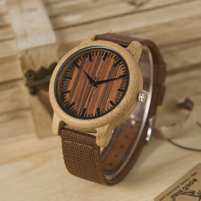 Brown Wooden Watch With Nylon Band