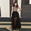 Transparent Black Skirts Women A Line Floor Length Long Skirt Sexy Sheer Tulle Skirt