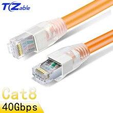 Cat8 RJ45 кабель 8P8C 40G 2000 МГц Ethernet кабель для домашнего маршрутизатора высокоскоростные быстродействующие стандартные сетевые кабели Lan экранированные RJ45
