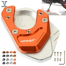 For KTM 125 Duke 2012-2018 Motorcycle Accessories CNC Kickstand Foot Side Stand Support Plate Pad Enlarge Extension DUKE125 LOGO motorcycle cnc kickstand foot side stand extension pad support plate enlarge stand for ktm 950 supermoto 2006 2007 with logo