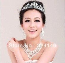 Nueva Encanto Magnífico Cristalino de la joyería nupcial Princesa collar joyería de Plata conjunto Pelo de La Boda Accesorios de Novia fo