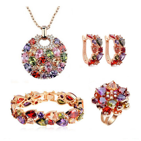 Luxury Cubic Zirconia Jewelry Set Champagne Gold Color Earrings Bracelets Necklaces Brooches For Women Wedding Jewelry orange morganite stylish jewelry set for women white zircon gold color rings earrings necklace pendant bracelets