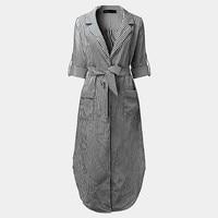 Vintage Women Long Shirt Dress Casual Turn Down Collar Long Sleeve Striped Maxi Party Dresses Plus Size Sexy Split Vestidos 2017