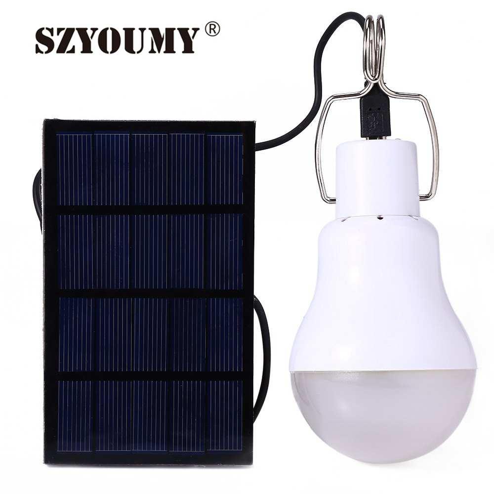 SZYOUMY Solar Panel LED Bulb LED Solar Lamp Equivalent 15W Solar Power + USB Charged 130lm LED Light Outdoor Solar Lamp 200PCS