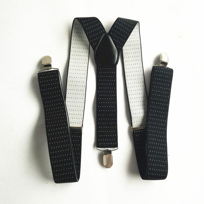 BD050-Men Dots Suspenders Large Size 3.5 Width Suspender For Wedding Elastic Adjustable Braces Clips On