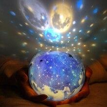 LED Gece Lambası Yıldızlı Gökyüzü Sihirli Yıldız Ay Gezegen Projektör Lambası Cosmos Evrensel Luminaria Bebek Kreş Için doğum günü hediyesi