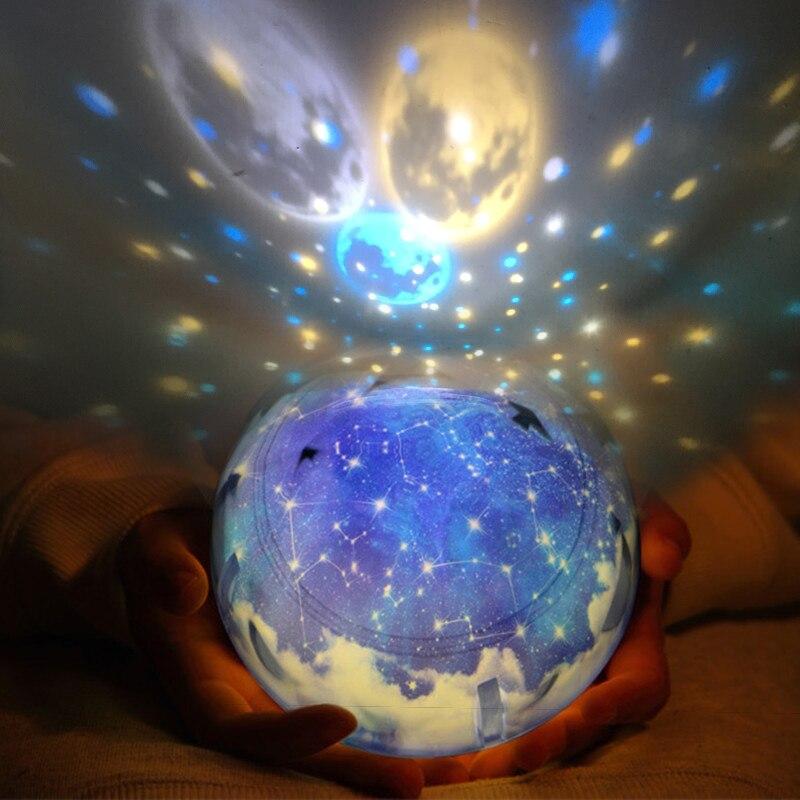 LED noche luz cielo estrellado estrella mágica Luna planeta lámpara de proyector Cosmos universo Luminaria Baby Nursery luz para regalo de cumpleaños