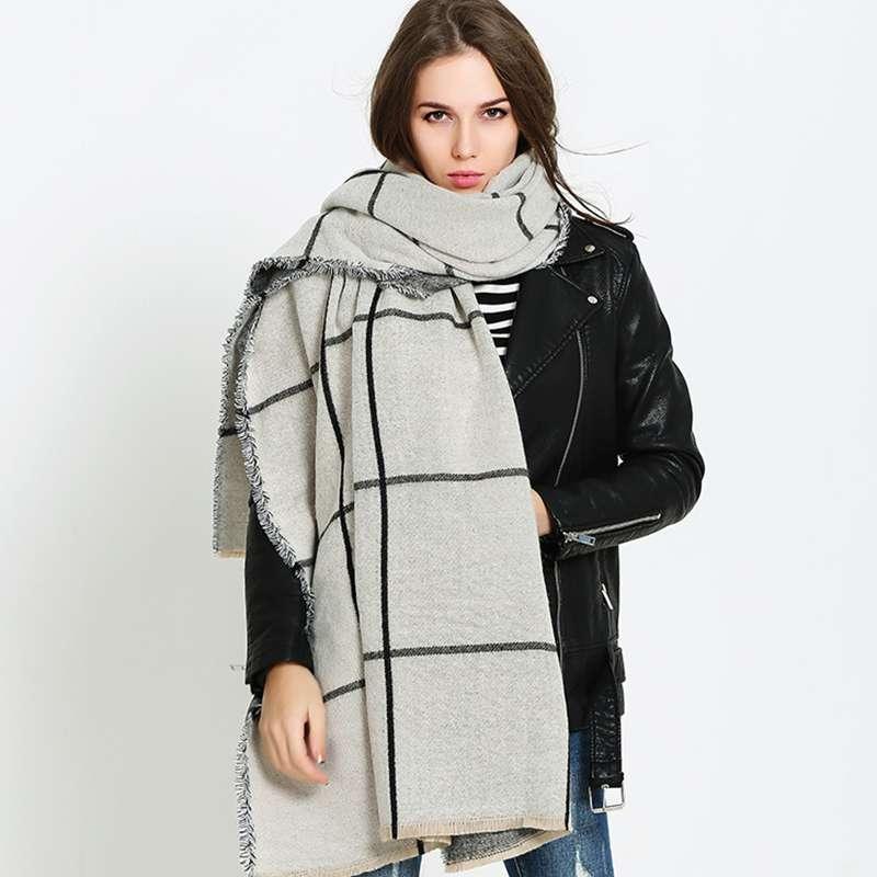 Winter font b Tartan b font Foulard Women Trendy Cashmere Blanket Scarf Luxury Brand Bufandas Mujer