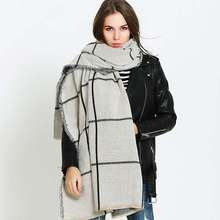 Winter Tartan Foulard Women Trendy Cashmere Blanket Scarf Luxury Brand Bufandas Mujer Khaki Scarves YJWD808