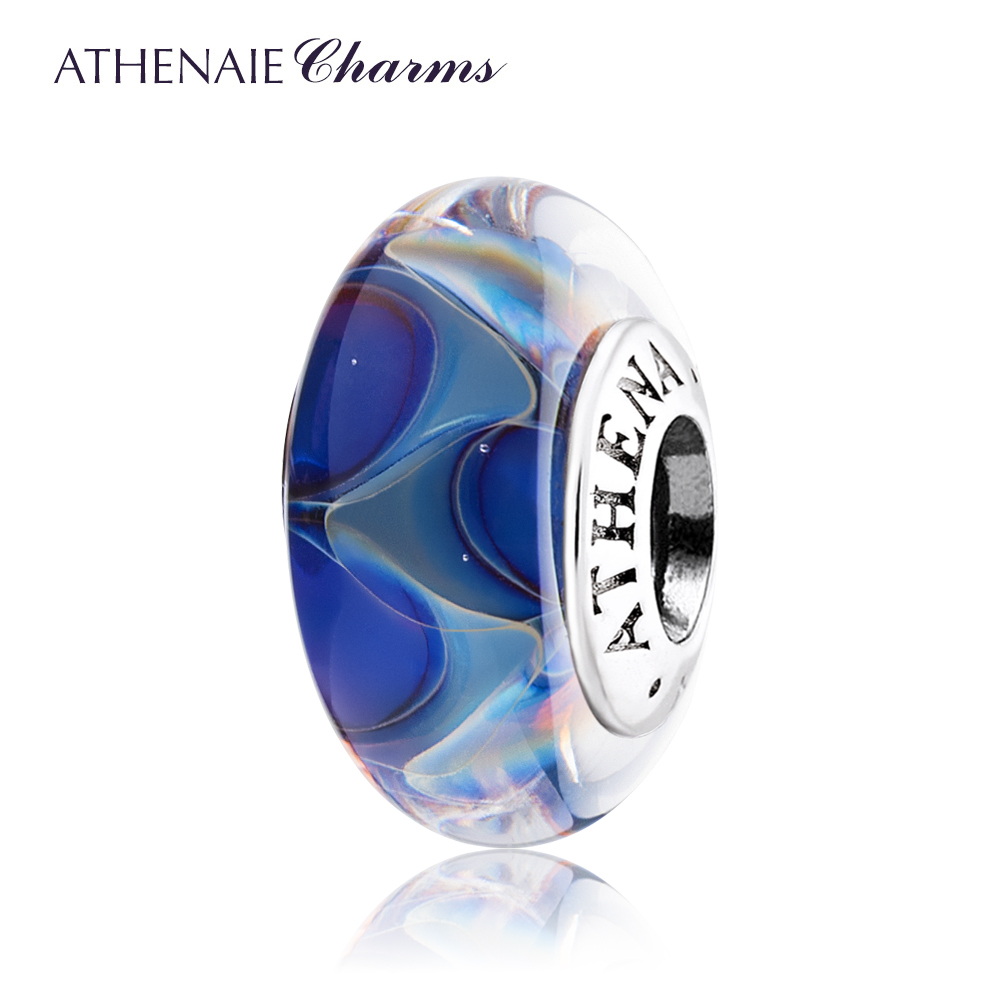 ATHENAIE Genuine Murano Glass 925 Silver Core Ocean Secret Charms Beads Fit All European Bracelets Color Blue