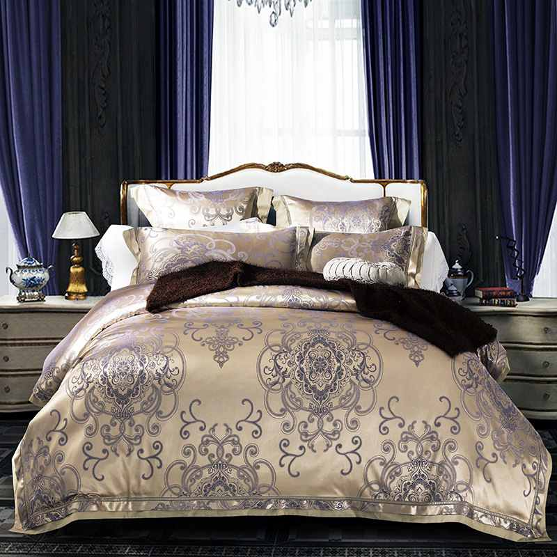4-Jacquard Silk Bedding Sets Luxury Embroidered duvet cover queen king size bed linen Satin bedclothes home textile - Household goods stores store