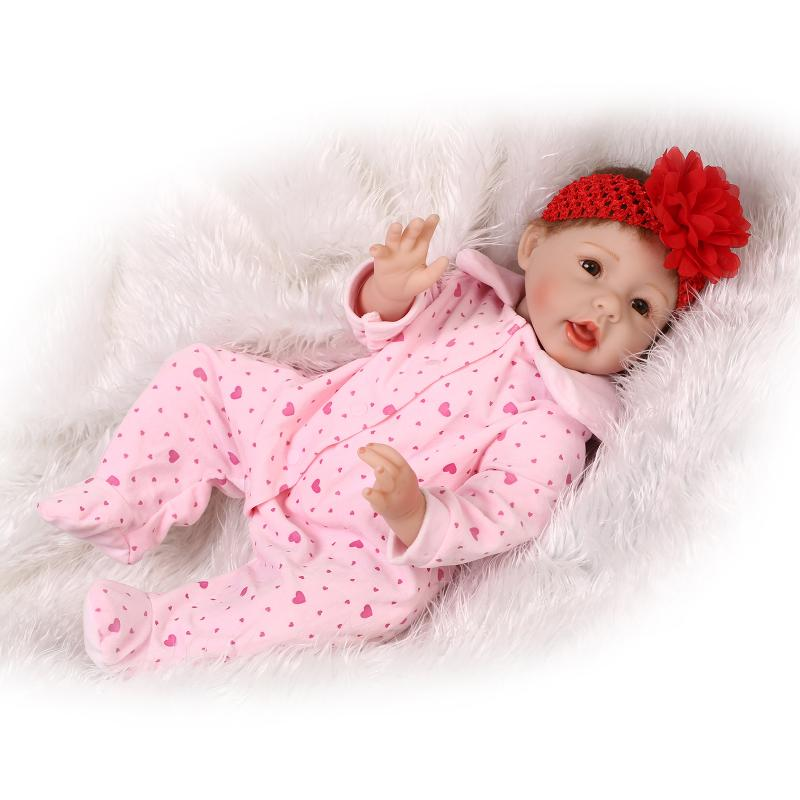 Open mouth Newborn Babies Bonecas alive toys real silicone reborn baby doll With flowers on the head so beautiful gift for girls