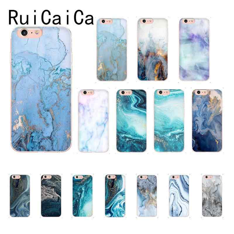 RuiCaiCa Green fashion marble blue aesthetic Luxury Unique Design Phone Cover for iPhone 8 7 6 6S Plus X XS MAX 5 5S SE XR 10